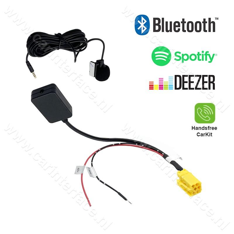 Bluetooth streamen + handsfree carkit interface / adapter voor Alfa Romeo, Fiat en Lancia autoradio's, 6-pin AUX-aansluiting