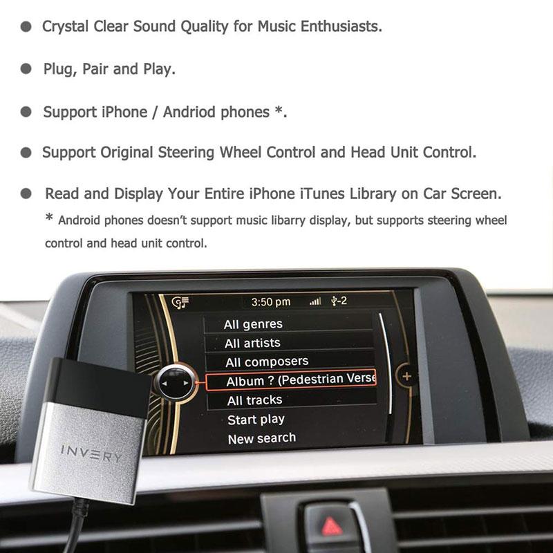 Bluetooh streaming adapter voor BMW / Mini iDrive systemen. Spotify, Dezzer.