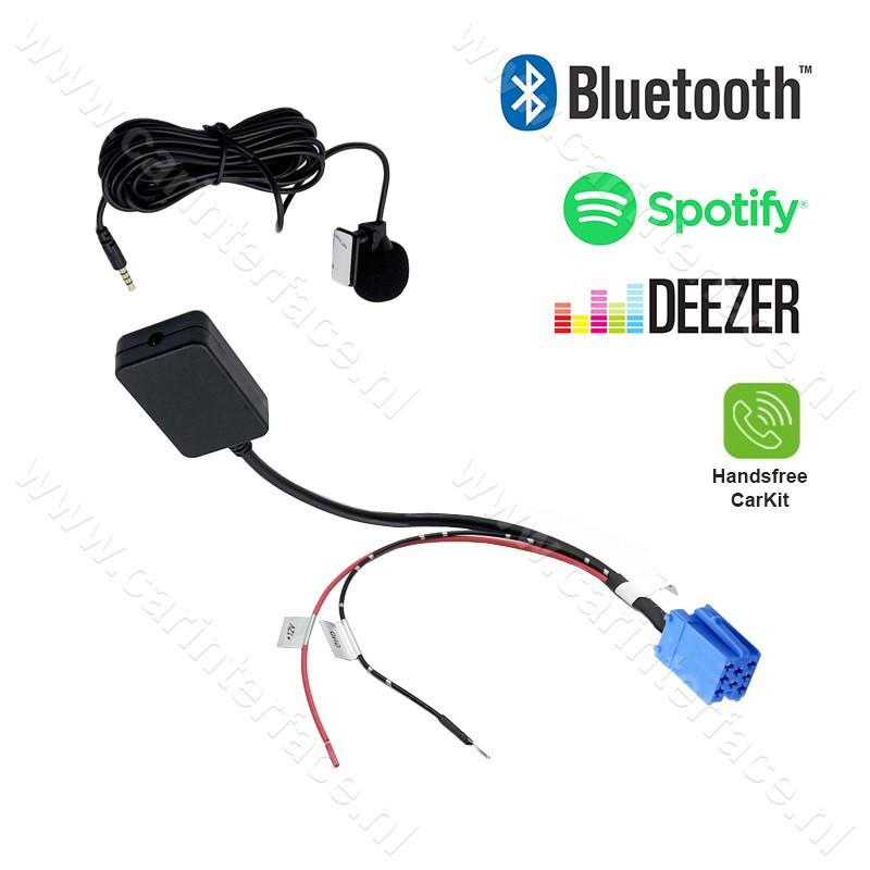 Bluetooth streamen + handsfree carkit voor 8-pin AUX ingang van o.a. Audi, Skoda, Seat, Volkswagen, Becker, Philips en Blaupunkt