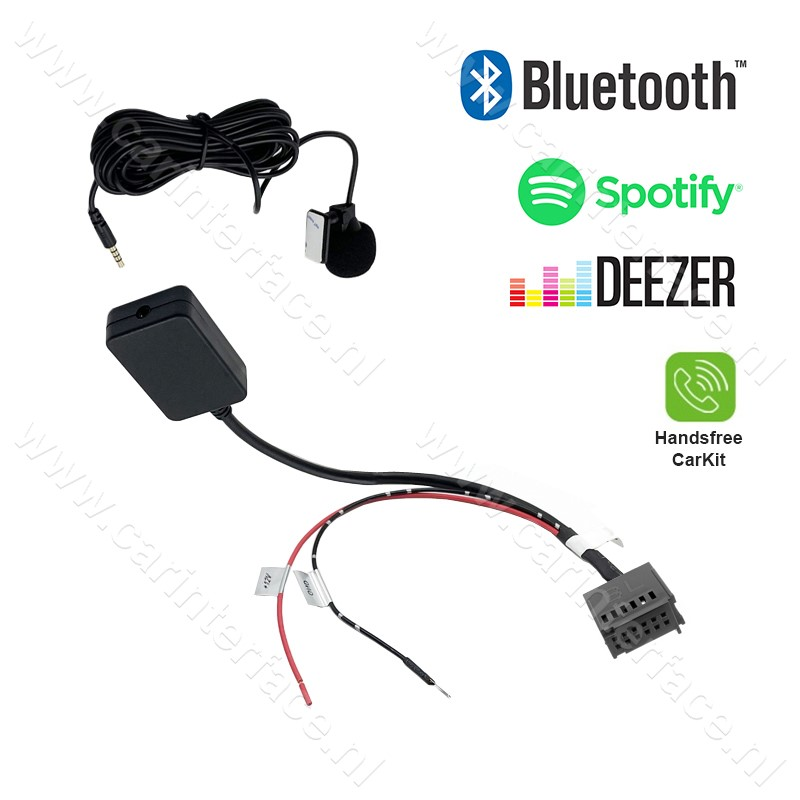 Bluetooth streaming + handsfree adapter voor o.a. Ford 5000 C, 6000 CD, 6006 CDC radio's, Mondeo, Focus, C-Max, Fiesta, Galaxy, Transit