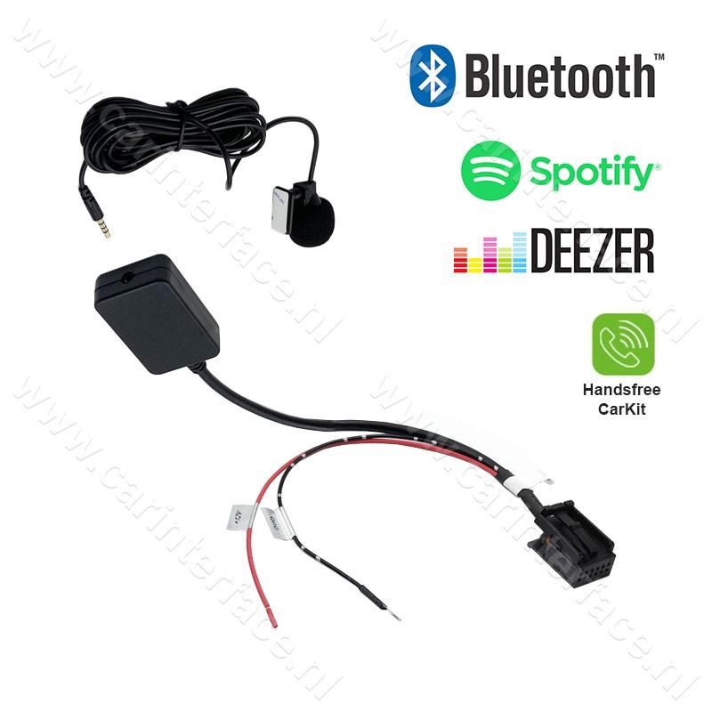 Bluetooth streamen + handsfree carkit interface / adapter voor Ford 6000CD radio's met AUX, Focus, C-Max, Mondeo, S-Max, Transit, Fiesta, Fusion