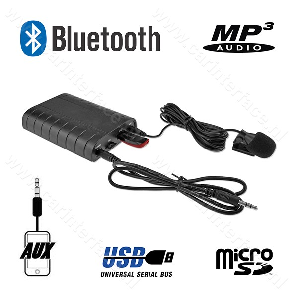 Bluetooth, MP3 USB / MicroSD, AUX ingang, interface adapter voor PCM 2, PCM 2.1, CDR23, CDR24 Porsche radio's