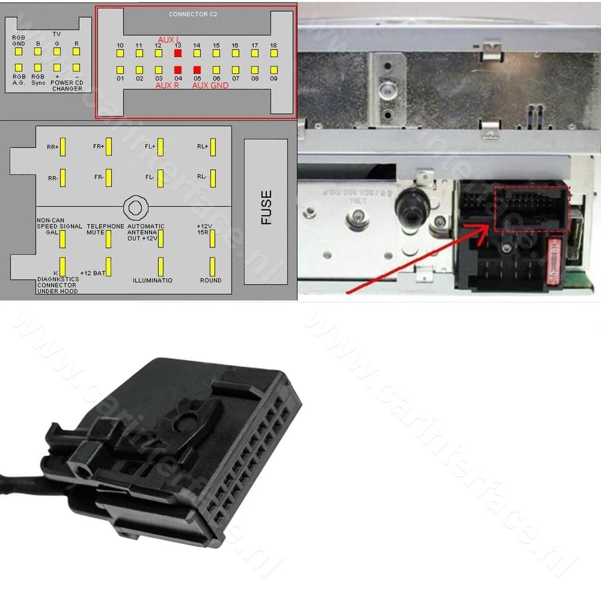 3.5mm AUX kabel / audio 18-pin adapter voor Mercedes-Benz Command APS 2.0