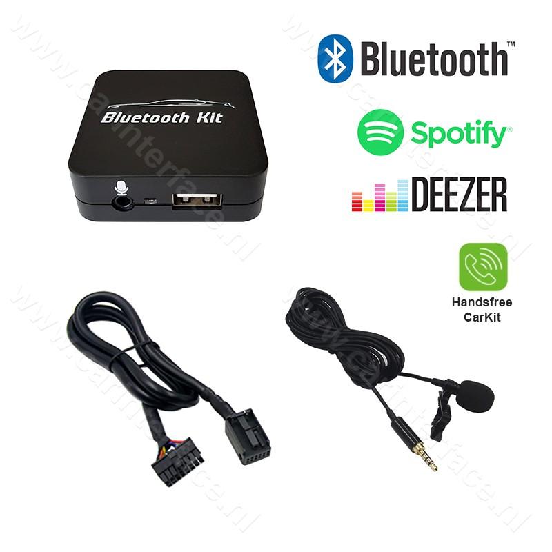 Bluetooth streamen + handsfree carkit interface / audio adapter voor Peugeot autoradio's, 12-pin