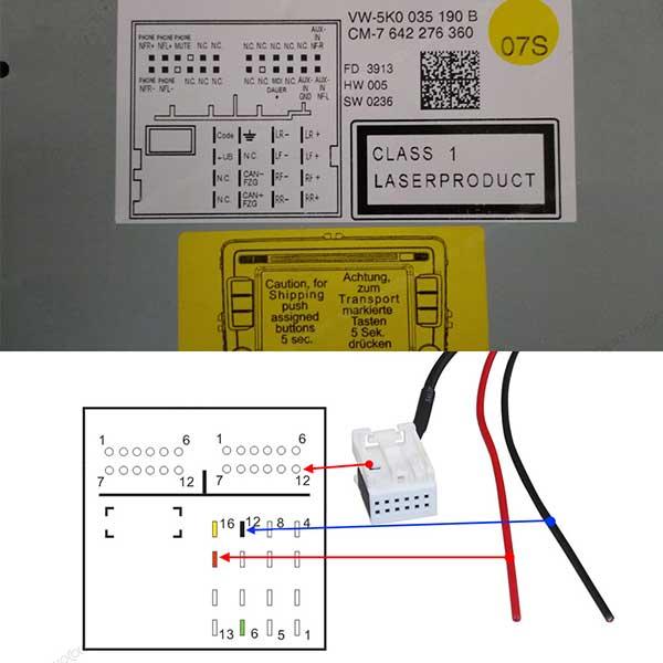 12-pin Bluetooth adapter voor o.a. MFD3, RCD 210, RCD 310, RCD 510, RNS 310, RNS 510, RNS-E en SE250