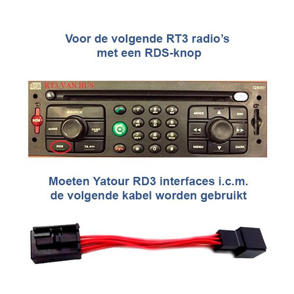 RD3 naar RD4 adapter voor RT3 VAN-BUS radio's met een RDS-knop