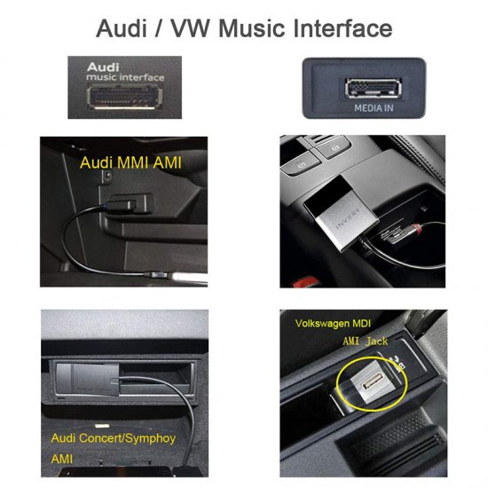 Bluetooh streaming adapter voor Audi AMI aansluiting, o.a. Spotify, Deezer, Pandora