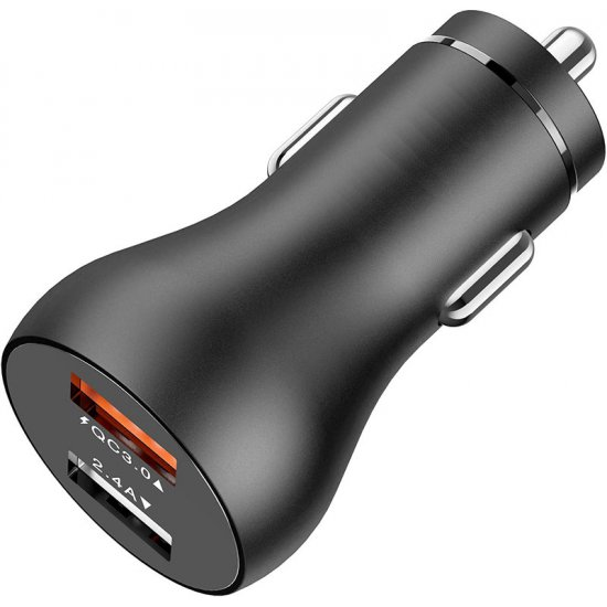 Dual USB autolader met 3.0 QC (quick charge van Qualcomm), 5.4A, 30W, zwart
