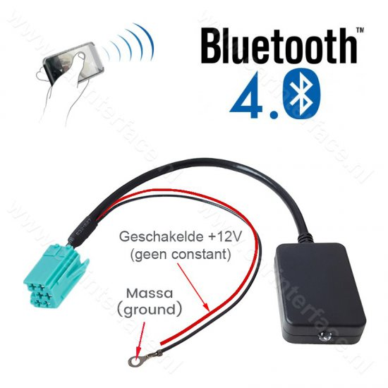 Bluetooth streaming module / adapter voor Renault autoradio's met een 6-pins Mini-ISO aansluiting