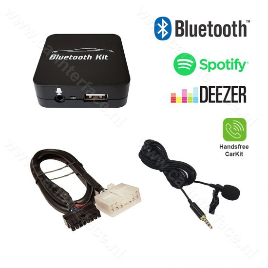 Bluetooth streamen + handsfree carkit interface / audio adapter voor Toyota 5+7 pin autoradio's