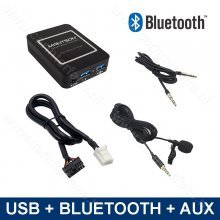 Bluetooth streamen + handsfree carkit + USB + AUX interface / adapter voor 6+6 pin Toyota autoradio's