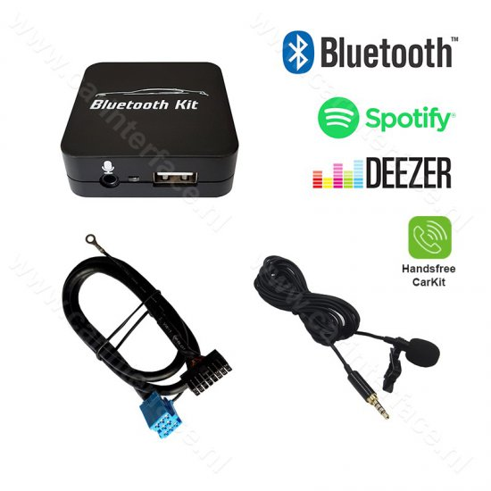 Bluetooth streamen + handsfree carkit interface / audio adapter voor Audi autoradio's (8-pin)