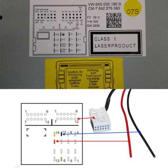 12-pin Bluetooth adapter voor o.a. MFD3, RCD 210, RCD 310, RCD 510, RNS 310, RNS 510 en RNS-E