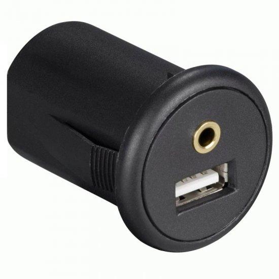 USB en AUX  inbouw stekkerdoos met 2 meter verlengkabel