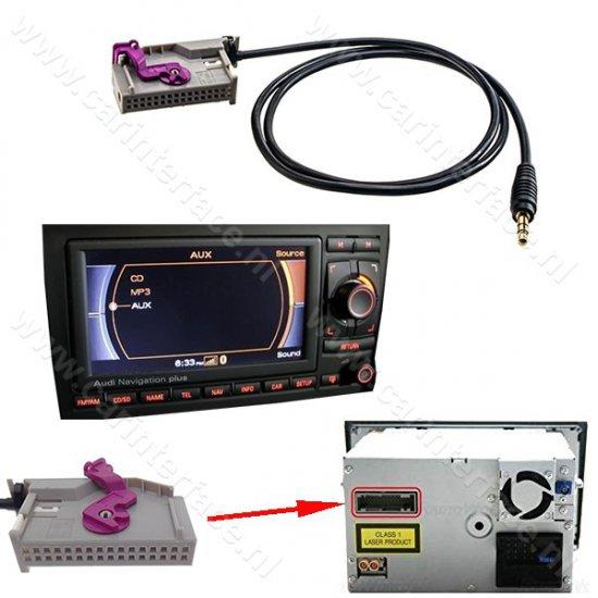 32-pin AUX IN kabel voor Audi RNS-E Navigation Plus, Line IN / 3,5 mm Jack