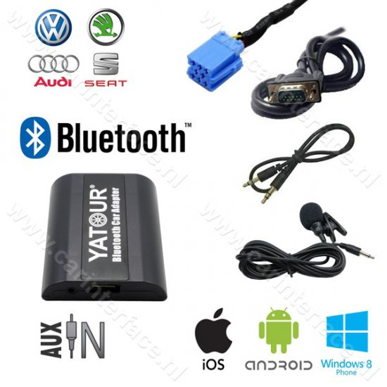 Yatour Bluetooth interface / audio adapter met AUX ingang voor VOLKSWAGEN / VW autoradio's