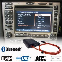 Bluetooth, MP3 USB / MicroSD, AUX ingang, interface adapter voor PCM 2 CD, PCM 2.1 DVD, CDR23, CDR24 Porsche radio's