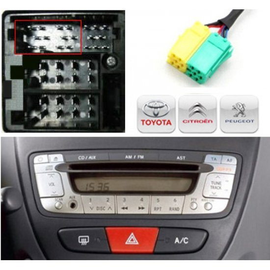 Yatour USB, SD, AUX ingang, MP3 interface voor Toyota Aygo, Citroën C1, Peugeot 107 autoradio's (YTM06-TOY3)