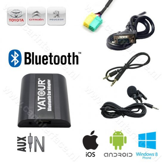 Yatour AUX ingang, Bluetooth interface / audio adapter voor af-fabriek Toyota Aygo, Citroën C1 en Peugeot 107 autoradio's (YT-BTA-TOY3)