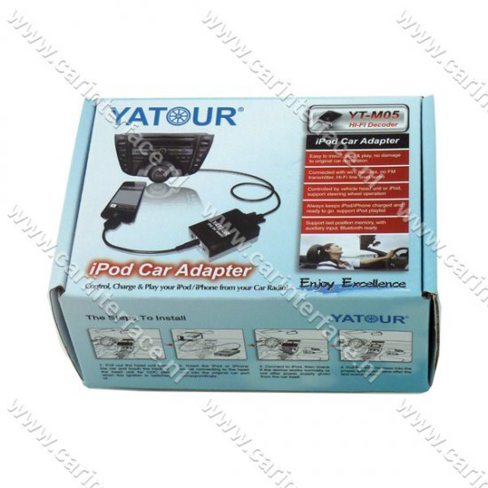 Yatour iPod, iPhone, AUX ingang, interface / audio adapter voor Toyota Aygo, Citroën C1 en Peugeot 107 autoradio's (YTM05-TOY3)