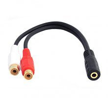 3.5mm Female naar 2x RCA Female adapter / kabel