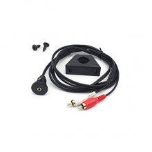 AUX inbouw / opbouw connector met 1 meter kabel naar 2x RCA male