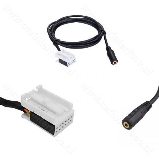 AUX kabel (3,5mm female naar 12-pin) voor o.a. MFD3, RCD 210, RCD 310, RCD 510, RNS 310, RNS 510 en RNS-E