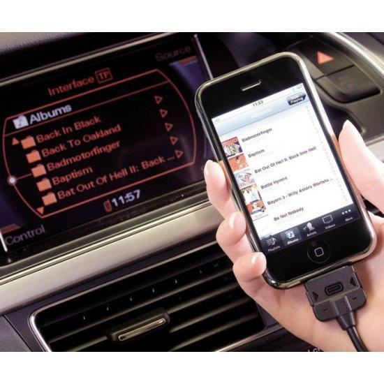 Audi-AMI, VW-MDI iPhone 5, 5C, 5S, 6, 6S, 6 Plus, 7, 7 Plus adapter kabel, Lightning aansluiting