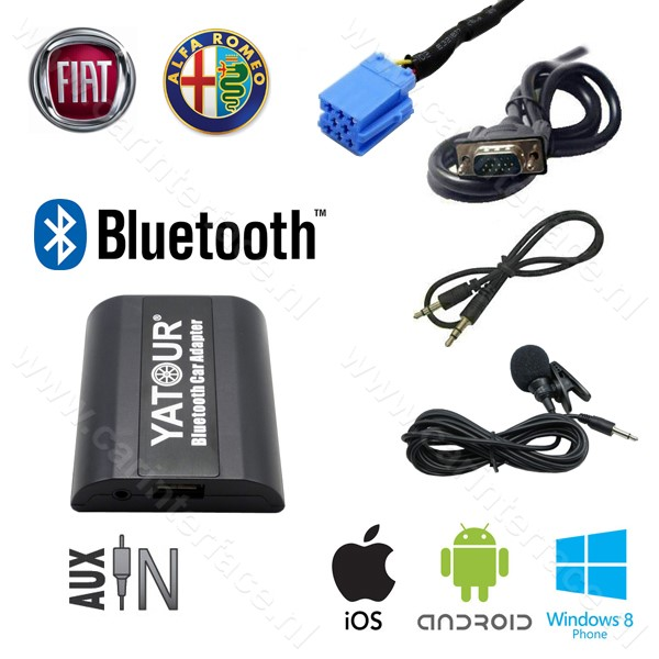 Yatour Bluetooth interface / adapter (carkit) met AUX ingang voor FIAT autoradio's