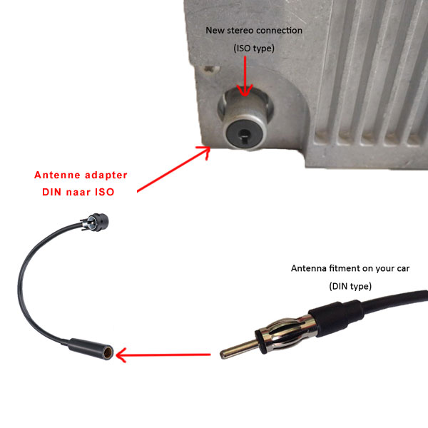 Autoradio antenne adapter DIN naar ISO, 20cm kabel, haaks