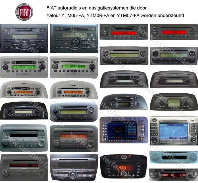 Fiat autoradio's en navigatiesystemen die door Yatour YTM05-FA en YTM06-FA worden ondersteund