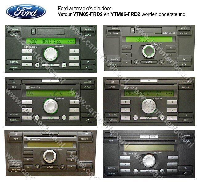 Ford autoradio's die door Yatour YTM05-FRD2 en YTM06-FRD2 worden ondersteund