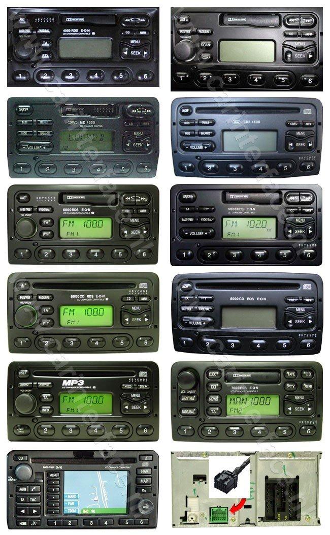 Ford autoradio's en navigatiesystemen die door Yatour YTM05-FRD1 en YTM06-FRD1 worden ondersteund