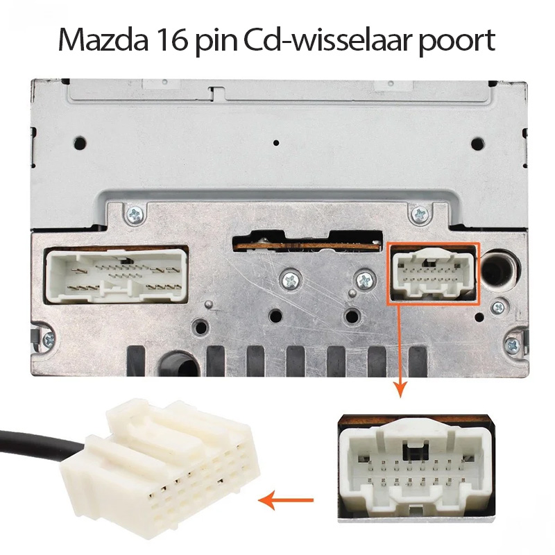 Bluetooth streaming + handsfree carkit adapter voor Mazda autoradio's met een 16-pin AUX-aansluiting