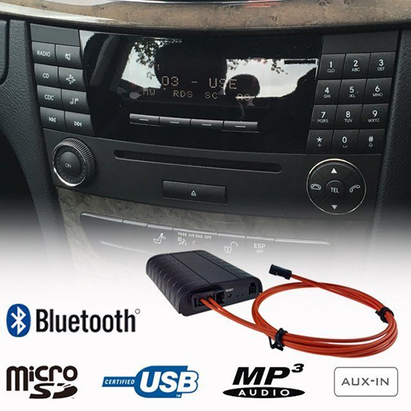 Bluetooth, MP3 USB, AUX ingang, interface adapter voor NTG 1, NTG 2, Audio 20, APS 50 en Comand Mercedes-Benz radio's