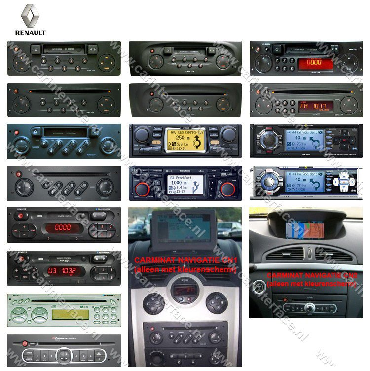 RENAULT autoradio's en navigatiesystemen die door Yatour YTM05-REN8 en YTM06-REN8 worden ondersteund