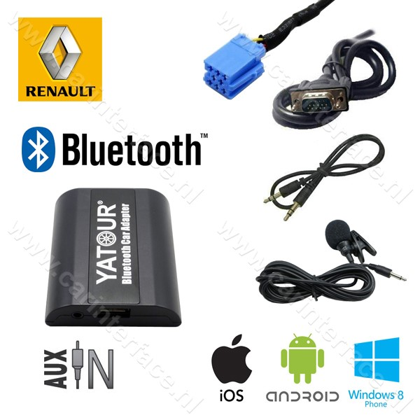 Yatour Bluetooth interface / audio adapter met AUX ingang voor Renault autoradio's (YT-BTA-REN8)