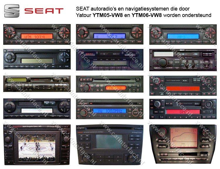 SEAT autoradio's en navigatiesystemen die door Yatour YTM05-VW8 en YTM06-VW8 worden ondersteund