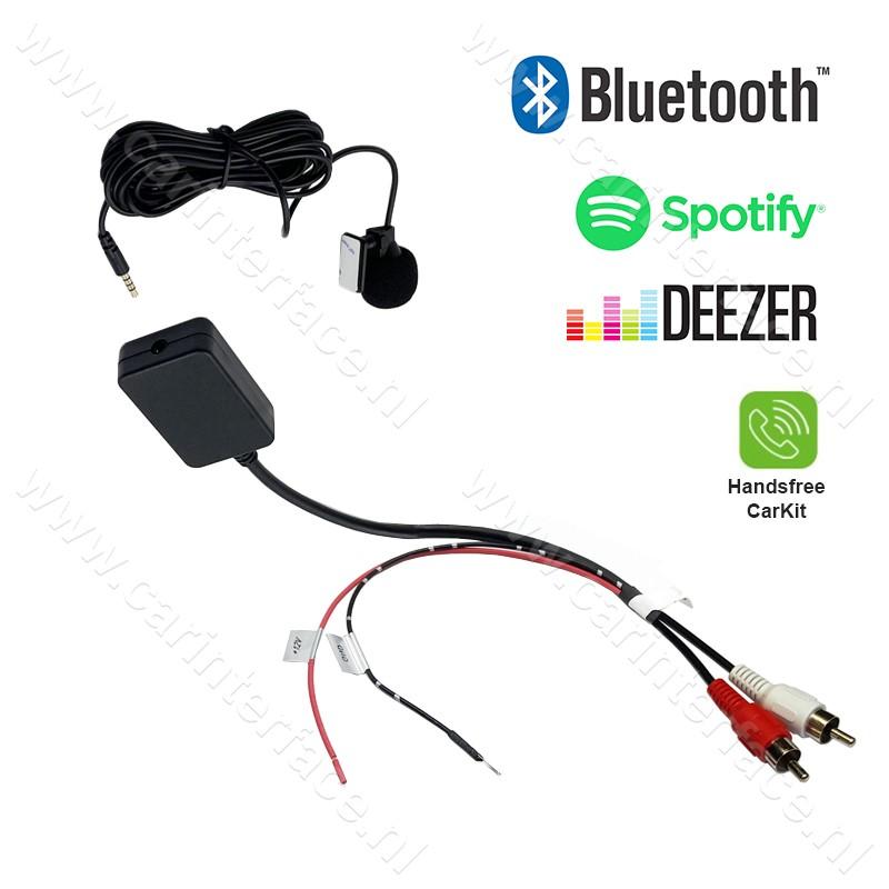 Bluetooth streaming / handsfree carkit adapter, via 2x male RCA AUX-ingang van een autoradio