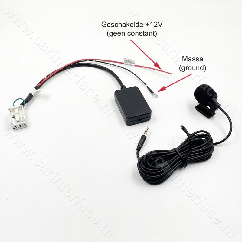 Bluetooth naar AUX, streamen + handsfree carkit interface / adapter voor Citroen en Peugeot autoradio (12-pin)