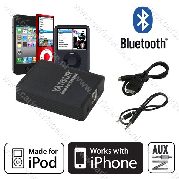 Yatour iPod, iPhone, AUX ingang, interface / audio adapter voor Toyota Aygo, Citroën C1 en Peugeot 107 autoradio's (YTM05-TOY3)