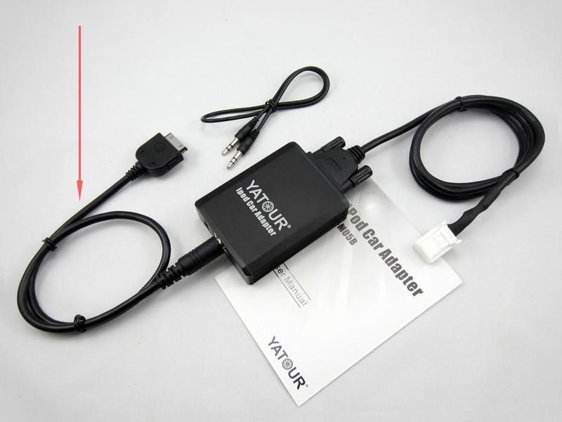 Yatour 8-pin naar 30-pin iPod/iPhone kabel tbv YTM05 interface