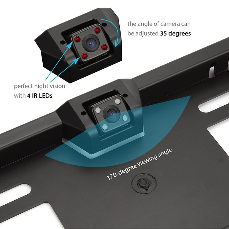 Kentekenplaat achteruitrij HD camera met nachtzicht