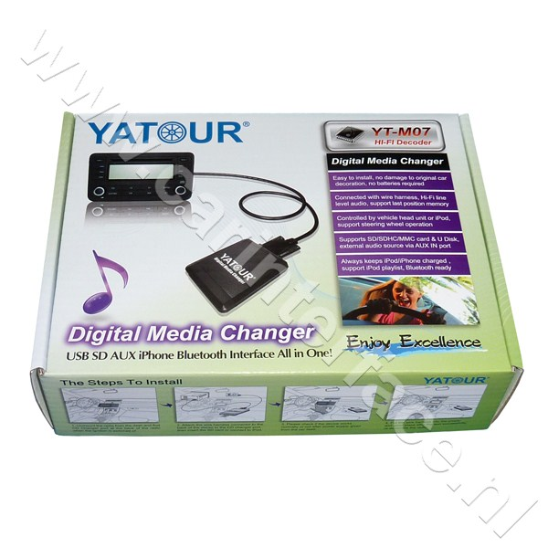 Yatour USB, SD, iPod, iPhone, AUX ingang, MP3 interface / audio adapter voor Toyota Aygo, Citroën C1, Peugeot 107 autoradio's (YTM07-TOY3)